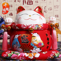 RED Family Portrait Japanese Ceramic Cat Ornaments Piggy Opened Home Furnishing Gifts Shop Opened Living Room