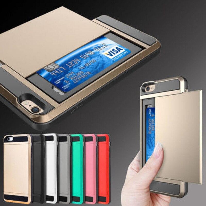 Armor Case For iPhone 6s 6 4.7 With Secret Credit Card Holder Coque for IPhone 6 Hidden Slide Slim Card Slot Fundas