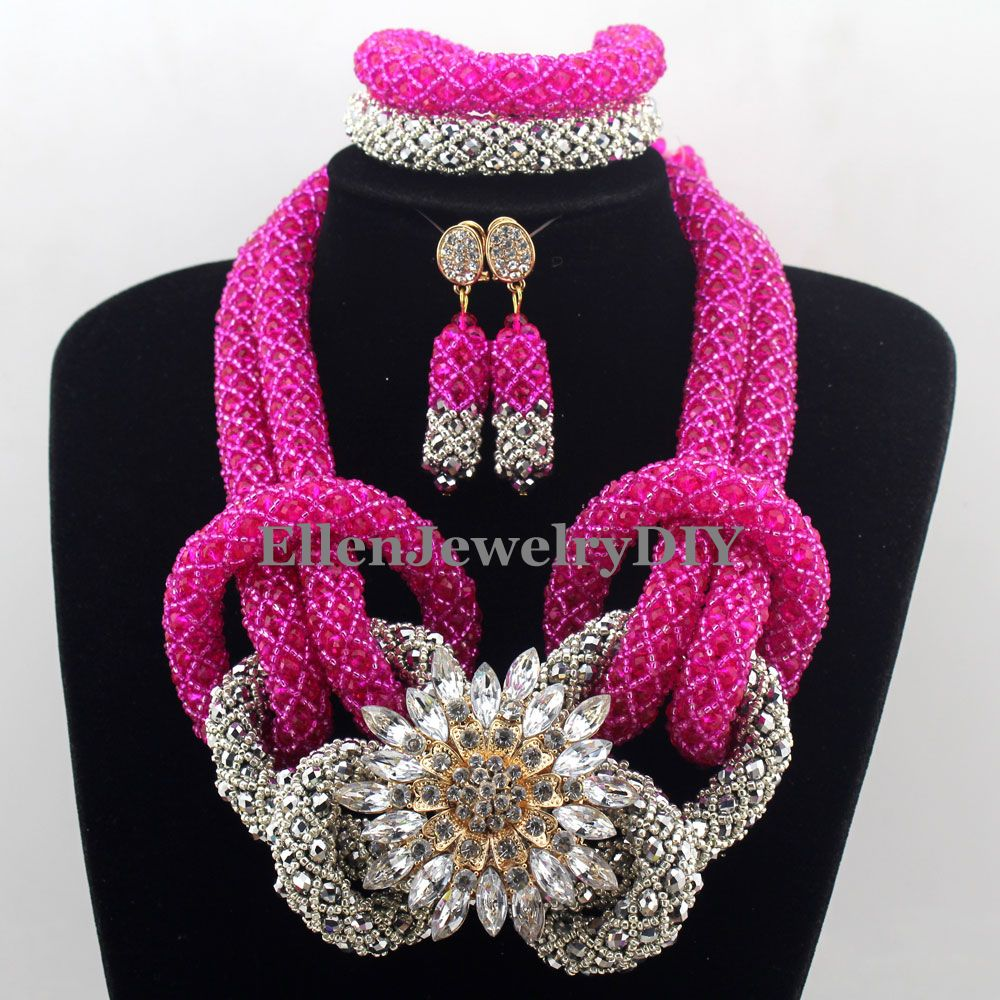 New Arrived Statement Necklace Nigeria Wedding Set Necklace Classic Women Crystal African Beads Jewelry Set W12804New Arrived Statement Necklace Nigeria Wedding Set Necklace Classic Women Crystal African Beads Jewelry Set W12804