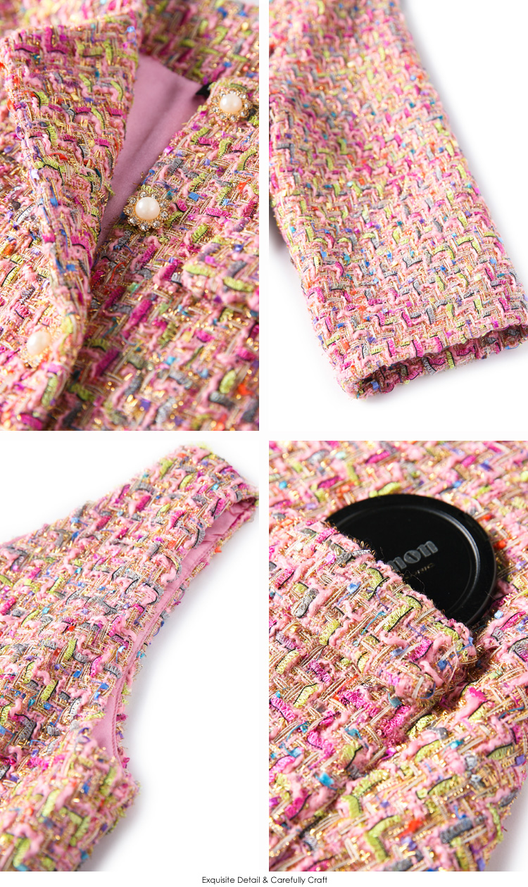 Spring and autumn European and American womens new ladies beaded tweed short jacket + woolen cloth vest dress Two pieces/set