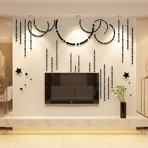 Acrylic mirror 3D three dimensional wall stickers TV room sofa ...