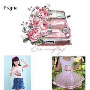 Car Patch Flower Pink Tractor Heat Transfers For Clothes Thrasher. Car Pattern DIY T-Shirt Parche Fashion Decoration Stickers D(China)