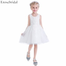 Smart Lace A Line Flower Girls Dresses 2019 New Erosebridal Wedding Girl Dress Knee Length Zipper Back Bow Wedding Party Gown baby blue knee length open back long sleeves organza flower girl dresses with bow baby birthday party gown with pearls crystals