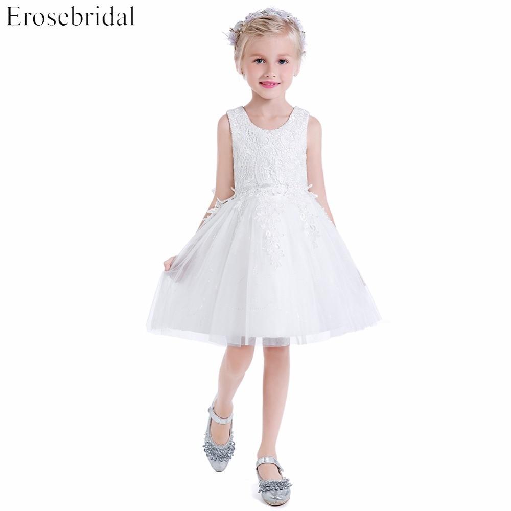 Smart Lace A Line   Flower     Girls     Dresses   2019 New Erosebridal Wedding   Girl     Dress   Knee Length Zipper Back Bow Wedding Party Gown