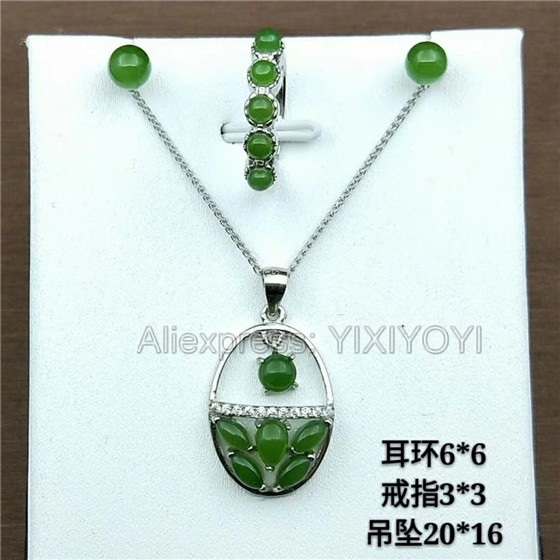 925 Silver Green HeTian Jade Jasper Beads Inlay Dangle Lucky Pendant + Chain Necklace Earring Ring Woman's Fine Jewelry Set 925 silver natural white white hetian jade beads inlay flower dangle lucky pendant necklace ring elegant woman s jewelry set