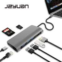 JZYuan Laptop Docking Station 8 in 1 USB C Dock For Macbook Pro With HDMI RJ45 Ethernet USB 3.0 PD For Galaxy S9 Huawei P20 Pro