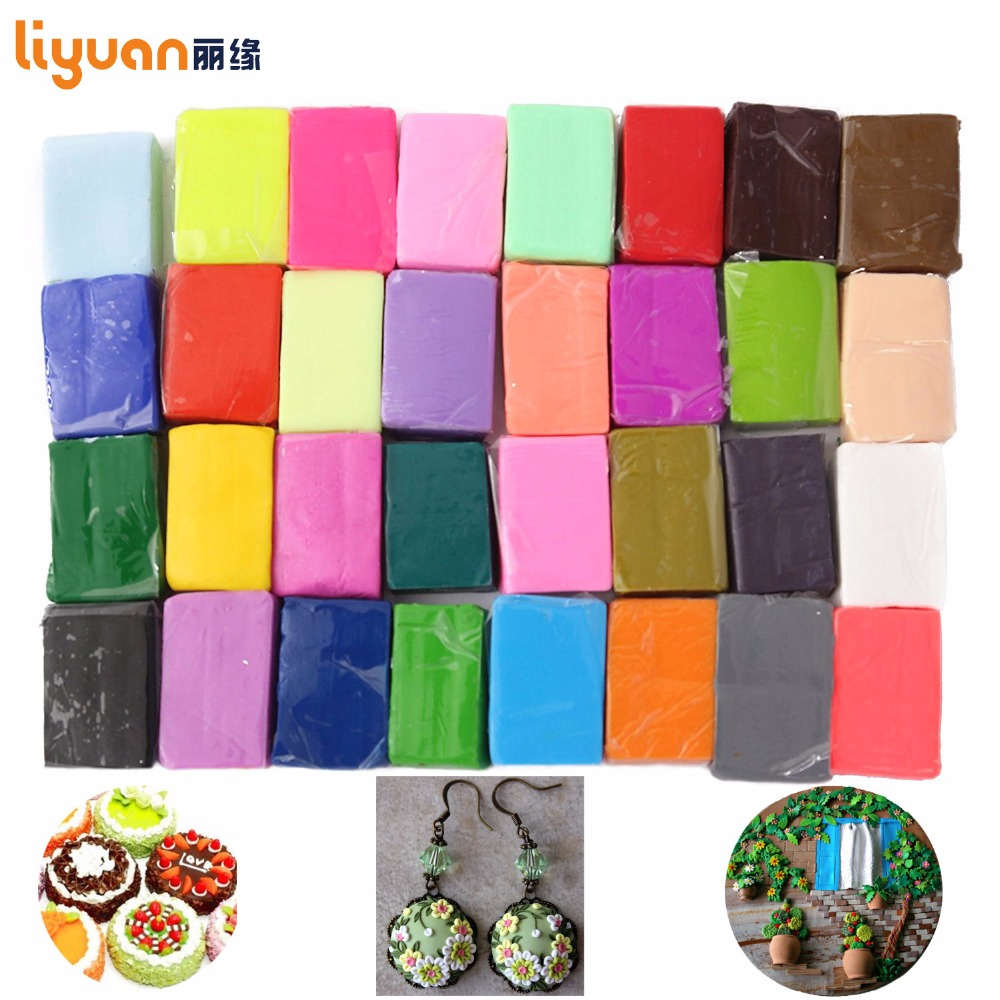 Liyuan Polymer Clay Oven Baked Colorful Modelling Moulding 32 Blocks Creative DIY Malleable Fimo Gift for