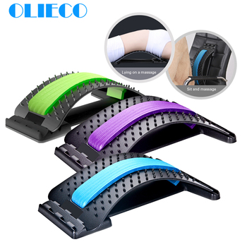 OLIECO Back Stretching Equipment Back Massager Magic Stretcher Fitness Lumbar Support Spinal Pain Release Corrector Health Care
