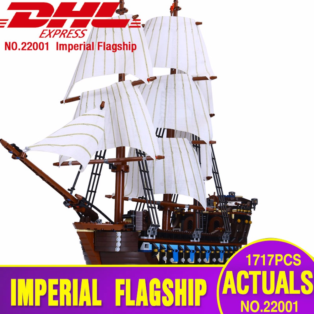 LEPIN 22001 Pirate Ship warships Model Building Kits Block Briks Toys 1717pcs Compatible With Legoing 10210 Children Gift lepin 22001 pirates series the imperial flagship model building blocks set pirate ship legoings toys for children clone 10210