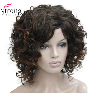 Image 2 - StrongBeauty Short Thick Dark Brown with Highlights Super Curly Layered Full Synthetic Wig for Women