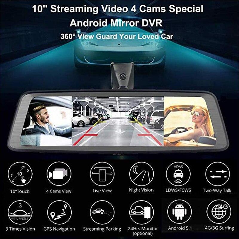 WHEXUNE 10 Touch ADAS Android 5.1 Volle 1080P Auto Dash Cam 4G Video Recorder rückspiegel mit DVR kamera 8 Core 4 Kanal - 2