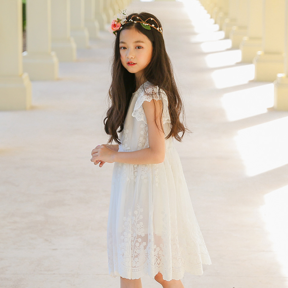 B-S25 New Fashion Spring Girls Casual Dresses Summer Short Sleeve Princess Dress 5-14T Teenager Kids Solid Color Lace Dress