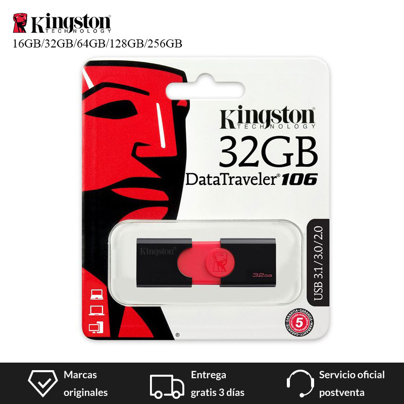 Kingston Technology DataTraveler 106 GB 16 GB 32 GB 64 GB 128 GB 256GB unidad Flash USB tipo-A USB 3,0 (3,1 Gen 1) USB de almacenamiento de disco U