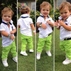 Hot Sale New 2015 Summer Boys Cotton T Shirt Green Trousers Set Summer Children Casual Suit