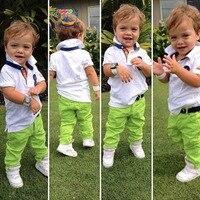 Hot Sale New 2015 Summer Boys Cotton T Shirt Green Trousers Set Summer Children Casual Suit
