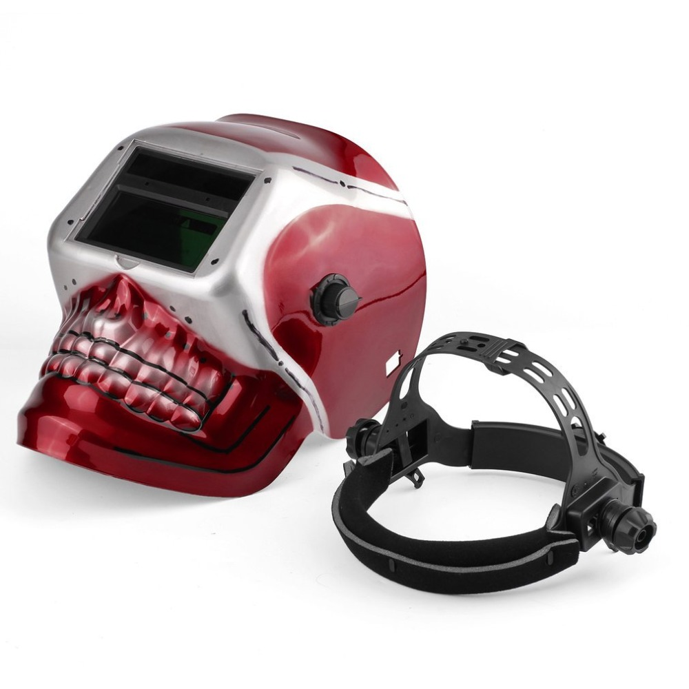 New Solar Powered Protective mask Auto Darkening Welding Helmet Arc Tig Mig Mask Grinding Welding Mask with Skull Pattern solar powered auto darkening welding helmet welding face mask arc tig mig mask grinding welding mask skull pattern