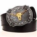 Cool cinto de ouro dos homens de cabeça de vaca punk rock estilo hip hop acessórios de cabeça de touro cinto ocidental cinto de cowboy Do Punk Vestir cinto