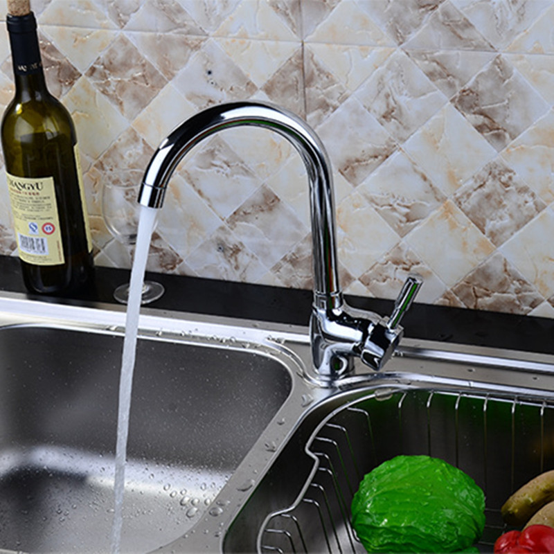 Free shipping Top quality polished chrome kitchen sink mixer tap with single handle solid brass kitchen