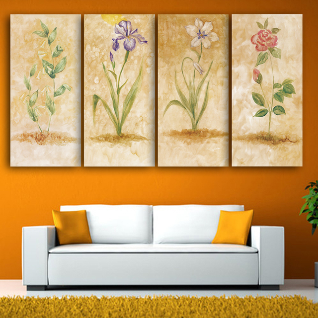 4 panle Print Canvas Oil Painting Vintage Flower Wall Art Canvas ...