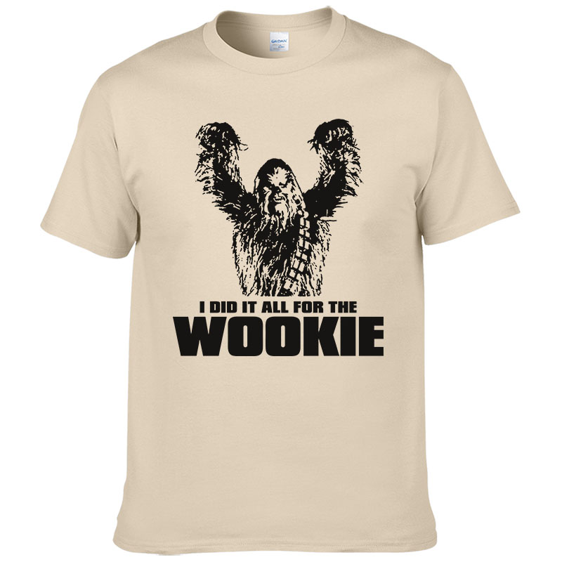 2017 Star Wars Chewbacca Head Chewy Wookie T Shirt Men Cotton Tees Short Sleeves Tops Male Clothes Wookiee European Size #190