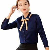 2018 Women silk blouse long sleeve White ladies office work wear elegant female silk blouses shirts