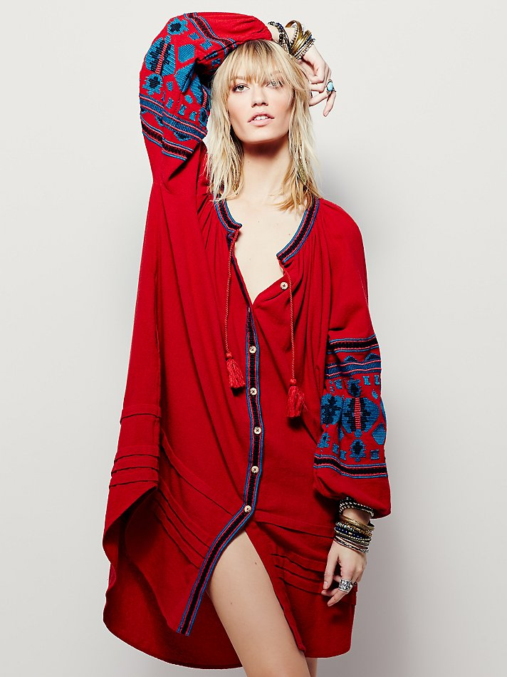 Celebrity Boho Bohemia Ethnic embroidery cotton blend coat loose skirt Mexican dress new все цены