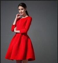Зимняя распродажа Женские красное платье Классический Круглый воротник с длинными рукавами Высокая Талия бальное платье однотонные вязаные винтажные облегающее платье