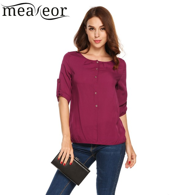 40663f737c656e Meaneor Button Down 3 4 Sleeve Loose Shirts Waist Length Solid Women Blouse  Autumn Shirt Tops Casual Daily life Clothes