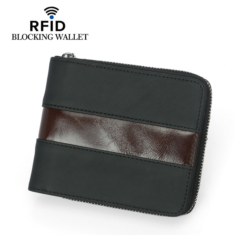 2019 Brand Men Wallet Genuine Leather Short Coin Purse Fashion Zipper Wallet For Male with Card Holder Photo Holder