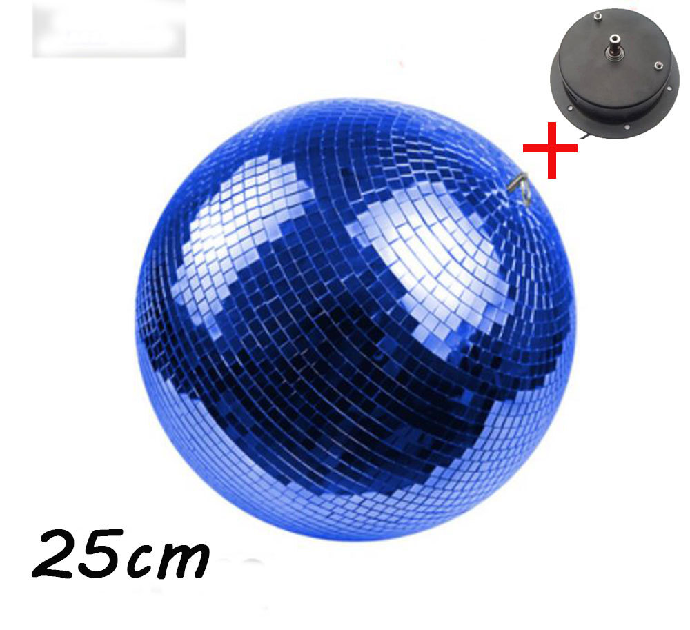 D25cm diameter blue glass rotating mirror ball 10