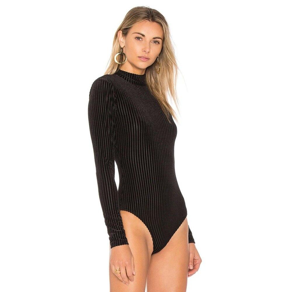 1d93cfe9e3 Sexy black bodysuits women solid color velvet long sleeves slim skinny  bodysuit autumn winter women romper jumpsuits clothing