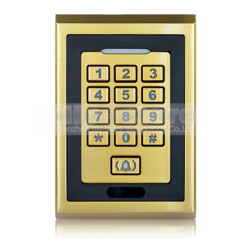 DIYSECUR Metal 125KHz RFID ID Card Reader Keypad  Access Controller With Door Bell Button usb pos numeric keypad card reader white