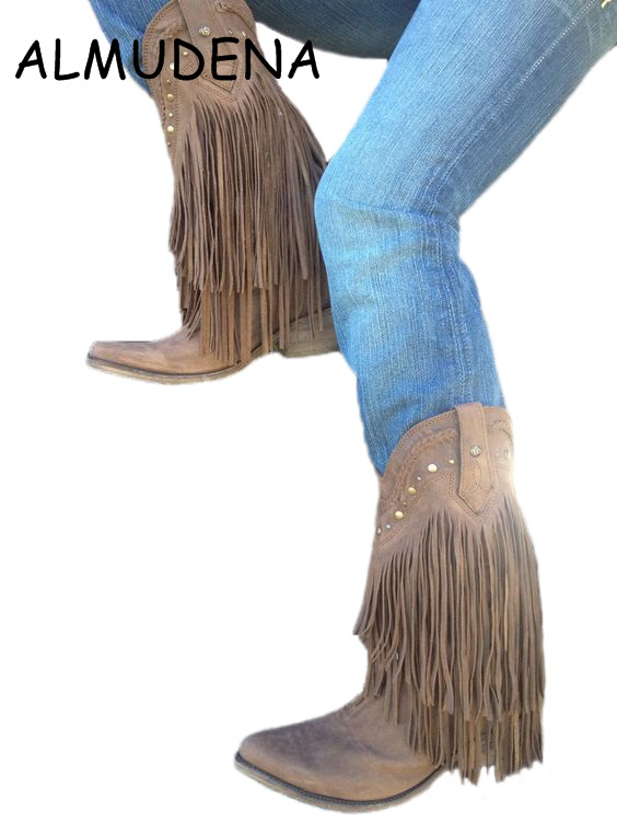 Bohemia Style Gladiator Women Mid-calf Low Heel Motorcycle Boots Fringed Cowboy Boots Shoes Spring Autumn Women Tassel Boots gladiator lady mid calf cowboy flats boots shoes round toe fringed slip on fashion boots leather long sexy boots shoes free ship