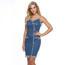 Summer Straps Sleeveless Ripped Clothing Women Denim Dress Sundress Sarafan Overalls Vintage Sexy Bodycon Jeans