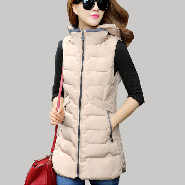 2016 New Winter Long Thick Cotton Vest Korean Fashion Plus Size L/3XL Hooded Sleeveless Jacket Women colete feminino JA594