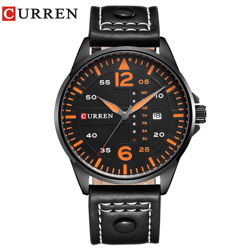 CURREN Luxury Brand Relogio Masculino Date Leather Casual Watch Men Sports Watches Quartz Military Wrist Watch Male Clock 8224 brand luxury men sports watches men quartz date analog clock male leather band casual military watch minifocus relogio masculino