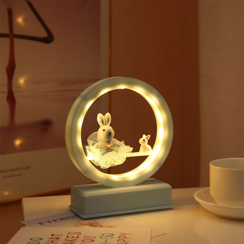 Rabbit Flamingo LED Night Light Music Box Baby Nursery Bedside Lamp For Children Bedroom Toy Christmas Gift Kids Craft