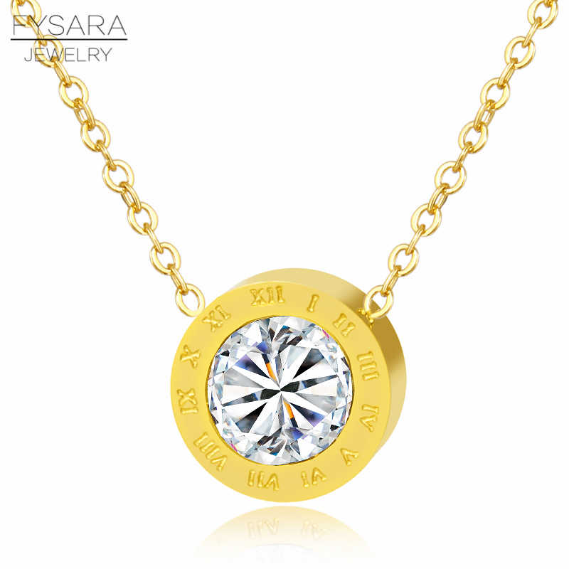FYSARA Roman Numerals Necklace Pendant Crystal Trendy Statement Short Necklace For Women Luxury Love Choker Jewelry Wholesale
