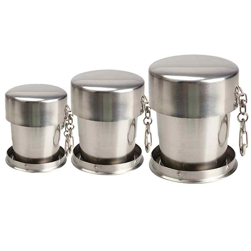 ステンレス鋼伸縮カップ飲料マジック茶カップポータブルシールゴブレット屋外旅行ツアー箸置き折りたたみカップ