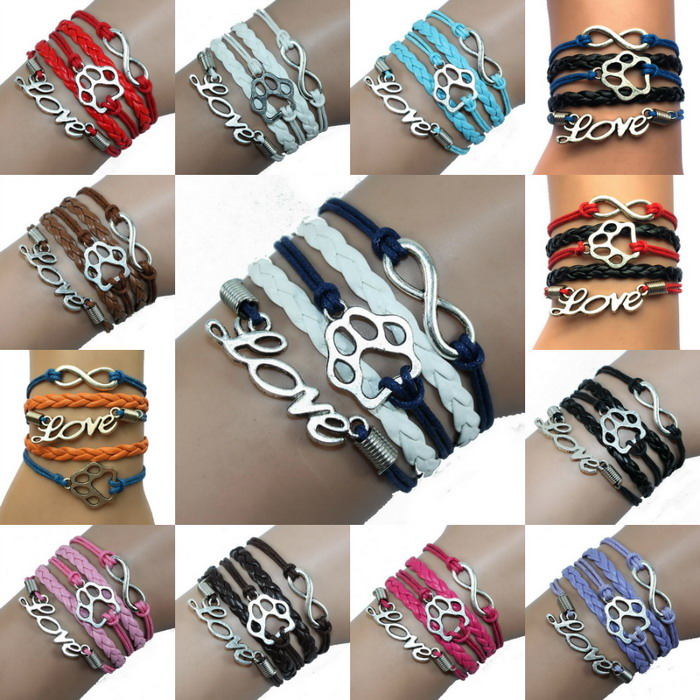 (10pcs/Lot) 13 Colors Mix Handmade Multilayer Wrap Bracelets- Infinity/Love/Paw Print Dog or Cat Tiger Animal Puppy L;over Gift