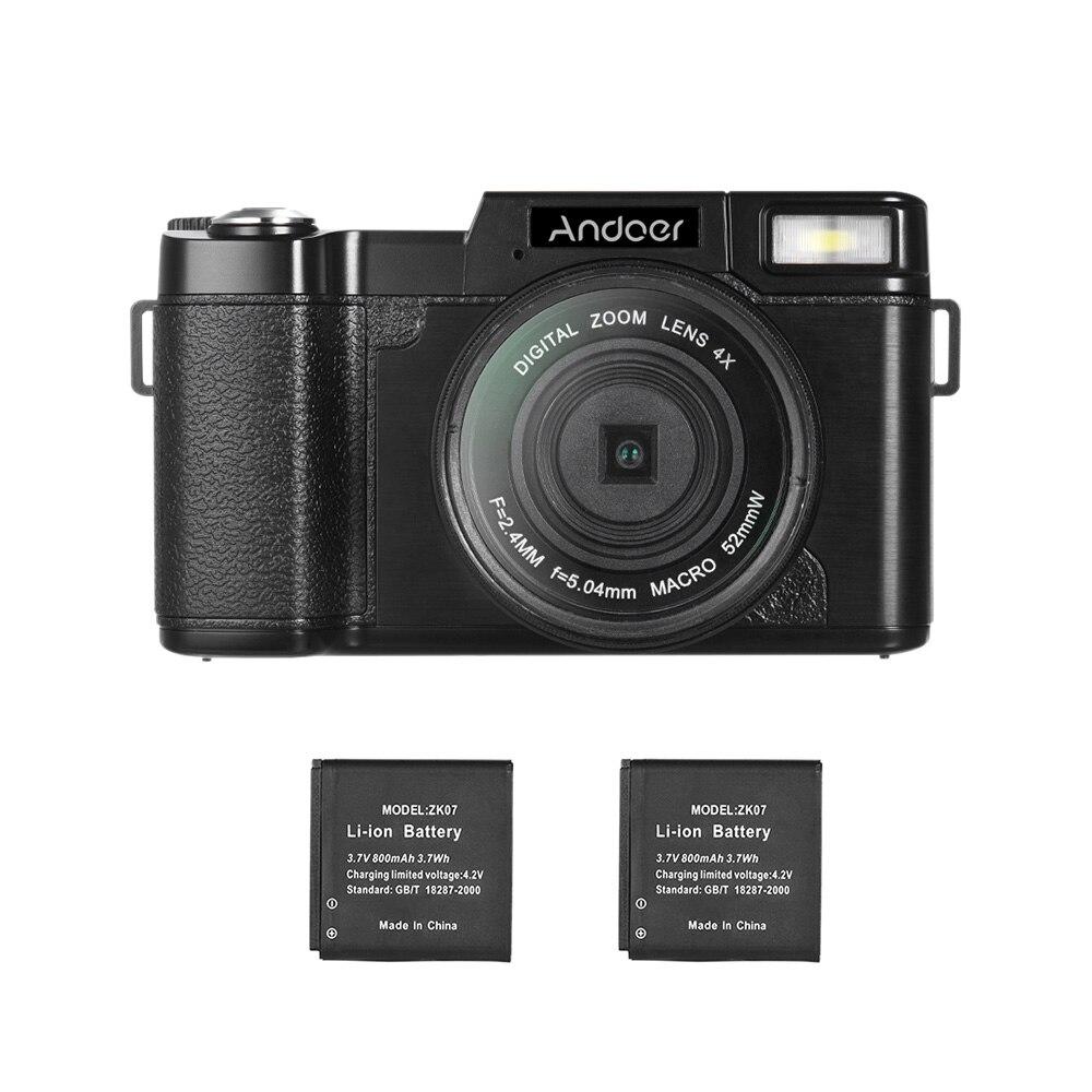 Andoer R1 1080P 15fps Full HD 24MP Digital Camera Cam Camcorder 4X Digital Zoom Retractable Flashlight
