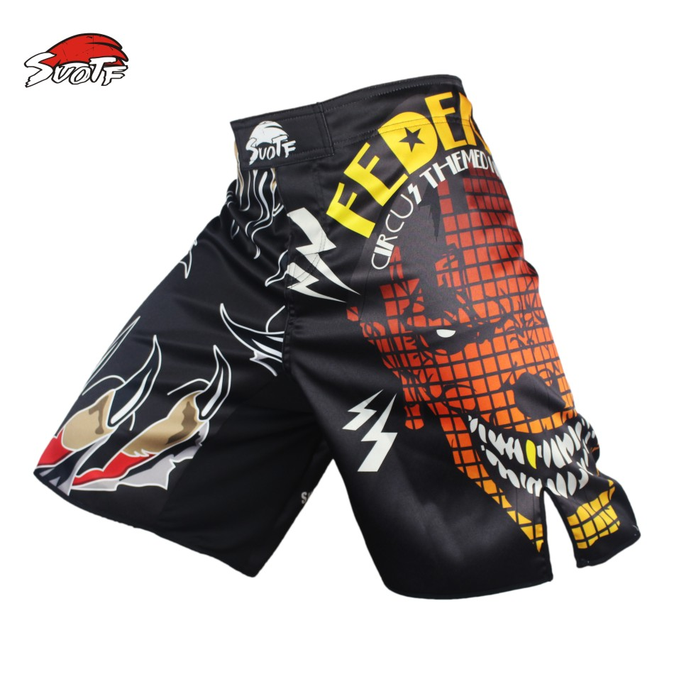Prix pour SUOTF Noir Diable Féroce Lutte Fitness Respirant Combat De Boxe Sport Boxeur Pantalon Tiger Muay Thai short de boxe mma pretorian