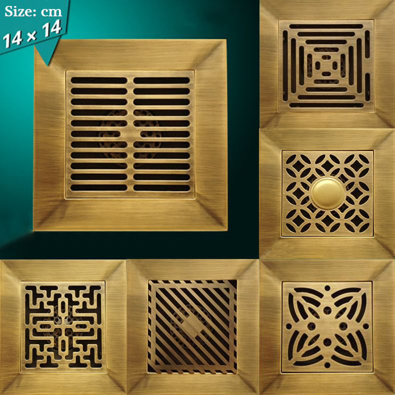 Shower Drain 14X14cm Antique Solid Brass Floor Drain Cover Strainer Bathroom Bath Accessories Art Carved Square Drains HJ-88 drains 10 10cm antique brass shower floor drain cover euro art carved bathroom deodorant drain strainer waste grate hj 8507s