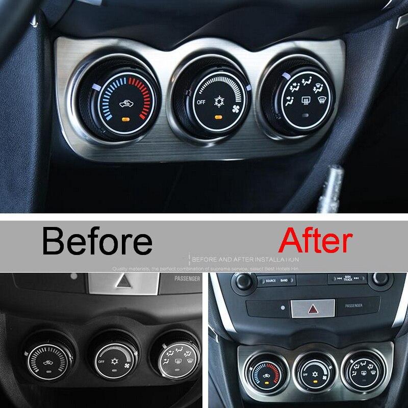 Prix pour 1 PCS De Voiture Autocollants DIY NEW Acier Inoxydable Climatisation Boutons Panneaux Couvrent autocollants pour Mitsubishi ASX 2013-15 accessoires