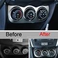 1 unids etiquetas engomadas del coche de diy nuevo aire acondicionado perillas de paneles de acero inoxidable cubierta de pegatinas para mitsubishi asx 2013-15 accesorios