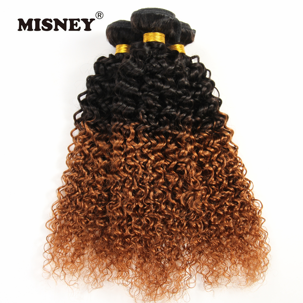 Brazilian Non Remy Hair 3 Bundles Jerry Curly Human Hair Extnsions Ombre Two Tone T1B30 Hair Weft