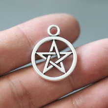 25x20mm Silver Pentagram Charm Amulet DIY Jewellery Accessories for Making Necklace Bracelet Earrings Pendant 10pcs/lot