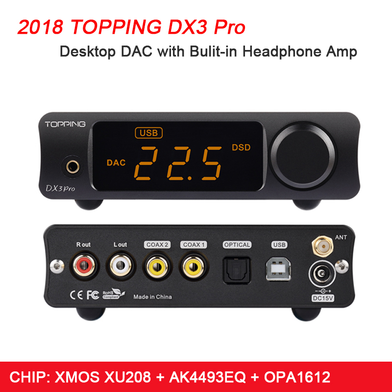 TOPPING DX3 Pro HIFI DAC USB Bluetooth 5.0 Cuffie Amplificatore Audio Decoder XMOS XU208 AK4493 DSD512 Coassiale Spdif DAC USB amp