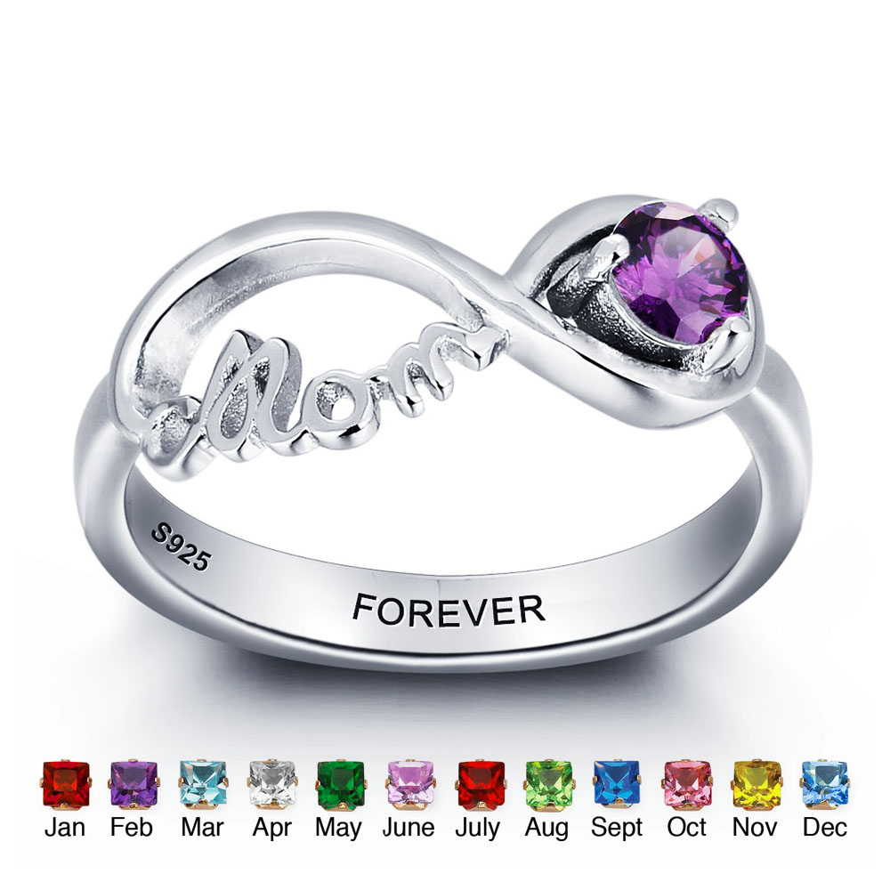 Personalized 925 Sterling Silver Rings For Women Engraved Name Colorful Birthstone Classic Mother Daughter Rings (RI101967)Personalized 925 Sterling Silver Rings For Women Engraved Name Colorful Birthstone Classic Mother Daughter Rings (RI101967)