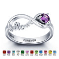 Personalized 925 Sterling Silver Rings For Women Engraved Name Colorful Birthstone Classic Mother Daughter Rings (RI101967)